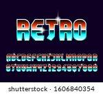 80s retro font set in vector... | Shutterstock .eps vector #1606840354