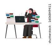 frustated arabian business... | Shutterstock .eps vector #1606849411
