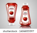 two bottles of ketchup on a... | Shutterstock .eps vector #1606855597