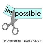 scissors cut the word... | Shutterstock .eps vector #1606873714