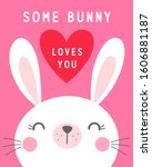 cute cartoon bunny illustration ... | Shutterstock .eps vector #1606881187