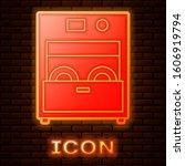 glowing neon kitchen dishwasher ... | Shutterstock .eps vector #1606919794