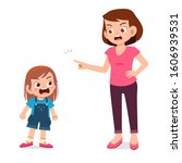 mom try to talk with her angry... | Shutterstock .eps vector #1606939531