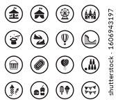 Amusement Park Icons. Black...