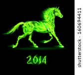 New Year 2014: green fire horse on black background. - stock vector