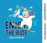 hand drawing snowboard bear... | Shutterstock .eps vector #1606958524