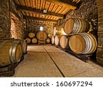 oak wine barrels | Shutterstock . vector #160697294