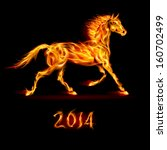 New Year 2014: fire horse on black background. - stock vector