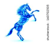 Blue fire horse rearing up. Illustration on white background. - stock vector