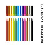 set of vector colored markers... | Shutterstock .eps vector #1607054674