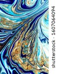 persian blue with gold... | Shutterstock . vector #1607064094