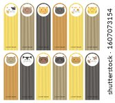 set of cute cats bookmarks with ...   Shutterstock .eps vector #1607073154
