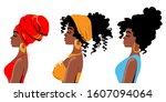 beautiful three african... | Shutterstock .eps vector #1607094064