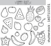 freehand fruit illustration ... | Shutterstock .eps vector #1607113351