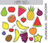 cute freehand fruit... | Shutterstock .eps vector #1607114344