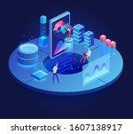 digital technology dark... | Shutterstock .eps vector #1607138917