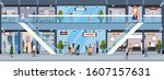vector of a shopping mall with... | Shutterstock .eps vector #1607157631