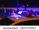 police lights. blue flasher on... | Shutterstock . vector #1607157811