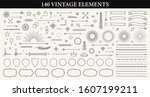 set of 140 vintage line... | Shutterstock .eps vector #1607199211