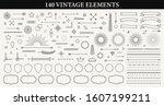 set of 140 vintage line... | Shutterstock .eps vector #1607199211
