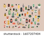 collection of natural organic... | Shutterstock .eps vector #1607207404