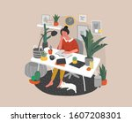 young woman sitting at desk in... | Shutterstock .eps vector #1607208301