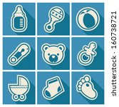 set of blue baby shower icons | Shutterstock .eps vector #160738721