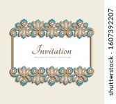 vintage gold card with... | Shutterstock .eps vector #1607392207