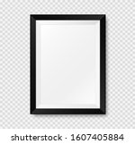 realistic picture frame mockup. ... | Shutterstock .eps vector #1607405884