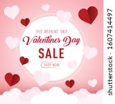 happy valentines day  flying... | Shutterstock .eps vector #1607414497