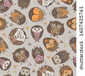 kids seamless pattern with cute ... | Shutterstock .eps vector #1607435761