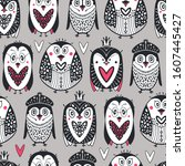 arctic seamless pattern with... | Shutterstock .eps vector #1607445427