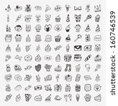 100 doodle birthday party icons ... | Shutterstock .eps vector #160746539
