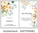 hand drawn vector cards with... | Shutterstock .eps vector #1607550481