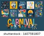 hello carnival. vector set of... | Shutterstock .eps vector #1607581807