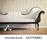 vintage sofa and wallpaper wall ... | Shutterstock . vector #160758881