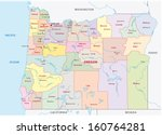 oregon administrative map - stock vector
