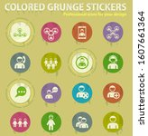 community colored grunge icons... | Shutterstock .eps vector #1607661364