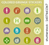 community colored grunge icons... | Shutterstock .eps vector #1607661367