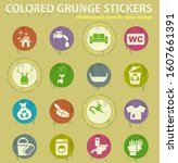 cleaning company colored grunge ... | Shutterstock .eps vector #1607661391
