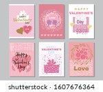 happy valentine's day set cards.... | Shutterstock .eps vector #1607676364