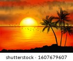 a tropical sunset with palm... | Shutterstock .eps vector #1607679607