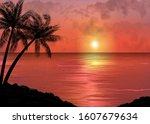a tropical sunset or sunrise... | Shutterstock .eps vector #1607679634