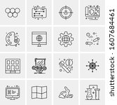 16 universal business icons... | Shutterstock .eps vector #1607684461