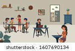 people working activity at...   Shutterstock .eps vector #1607690134