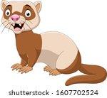 cartoon funny ferret isolated... | Shutterstock .eps vector #1607702524