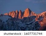 Glowing Lone Pine Peak and Mount Whitney Sunrise, Alabama Hills, Lone Pine, California