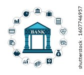 money icons  with bank and...