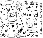 hand drawn set elements  for... | Shutterstock .eps vector #1607753344