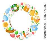 cartoon easter day round frame... | Shutterstock .eps vector #1607773207